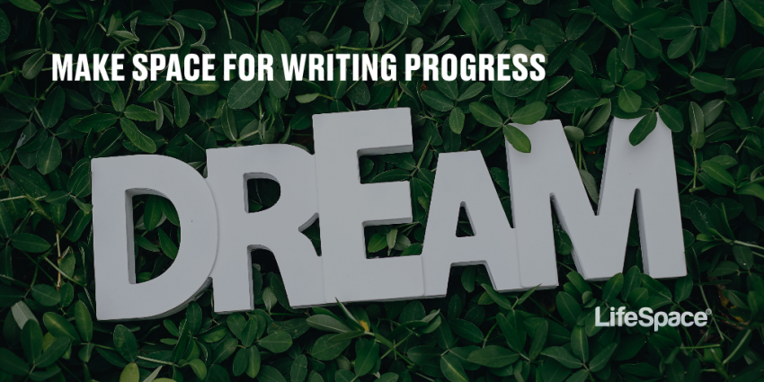 "The word ""dream"" appears on a robust bed of greenery, hopeful and soft"